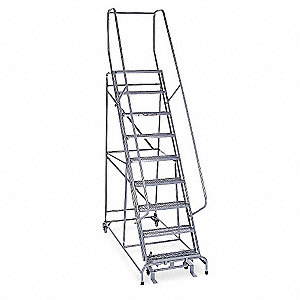 "Rolling Ladder, 120"" Overall Height, 450 lb. Load Capacity, Number of Steps 9"