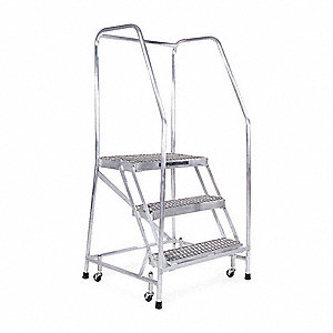 "Rolling Ladder, 60"" Overall Height, 350 lb. Load Capacity, Number of Steps 3"