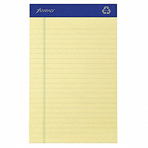 Writing Pad,5x8,Canary,Recyc,PK12