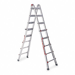 Aluminum Multipurpose Ladder, 11 to 19 ft. Extended Ladder Height, 300 lb. Load Capacity