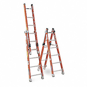 Fiberglass Combination Ladder, 16 ft. Extended Ladder Height, 375 lb. Load Capacity