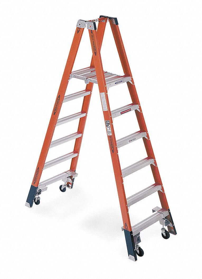 Werner Fiberglass Twin Platform Stepladder 8 Ft Ladder