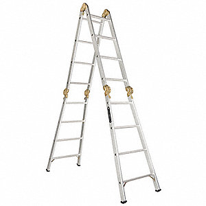 Aluminum Articulating Ladder, 17 ft. Extended Ladder Height, 300 lb. Load Capacity