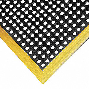 "Studded Drainage Mat, Black with Yellow Border, 3 ft. 4"" x 2 ft. 2"", Rubber, 1 EA"