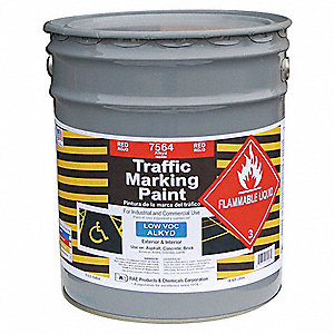 Red Traffic Zone Marking Paint, Alkyd Solvent Base Type, 5 gal.