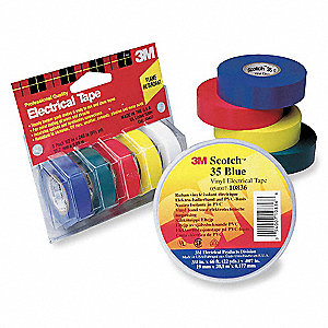 "Red, Blue, Green, White, Yellow Vinyl Multipack Electrical Tape, 1/2"" Width, 20 ft. Length, 7 mil Th"