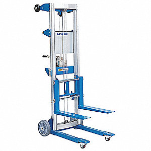 "Invertible Fork Material Lift, 400 lb., Lifting Height Forks Up 120-1/2"", Lifting Height Forks Down"
