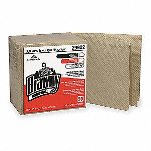 Brown Paper Disposable Wipes, Number of Sheets 50, Package Quantity 12