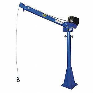 "Davit Crane, 2000 lb., Reach 51.5"" to 87.5"", Lift Range 59-5/16"" to 95-3/4"""