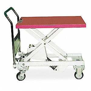 "Scissor Lift Cart, Fixed, 330 lb., Platform Width 17-7/10"", Platform Length 28"", Raised Height 26-1/"