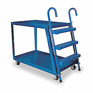 Stock Picking Ladder Cart,35-1/2 In. H