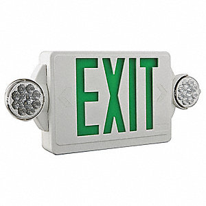 Exit Sign w/Emergency Lights,3W,Grn