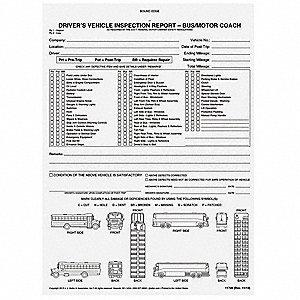 Jj keller motor coach vehicle inspection report 52vp20 for Motor vehicle inspection report