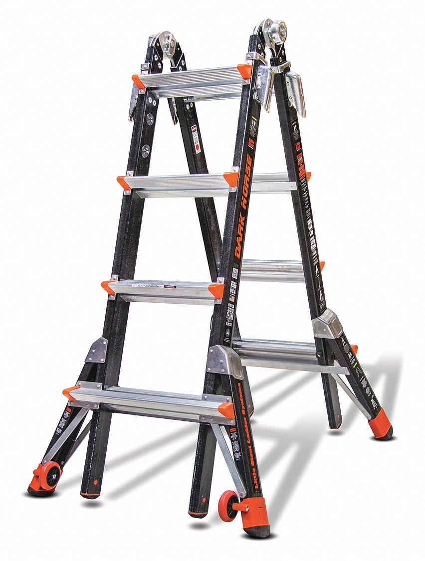 Little Giant 9 Ft Fiberglass Multipurpose Ladder 300 Lb