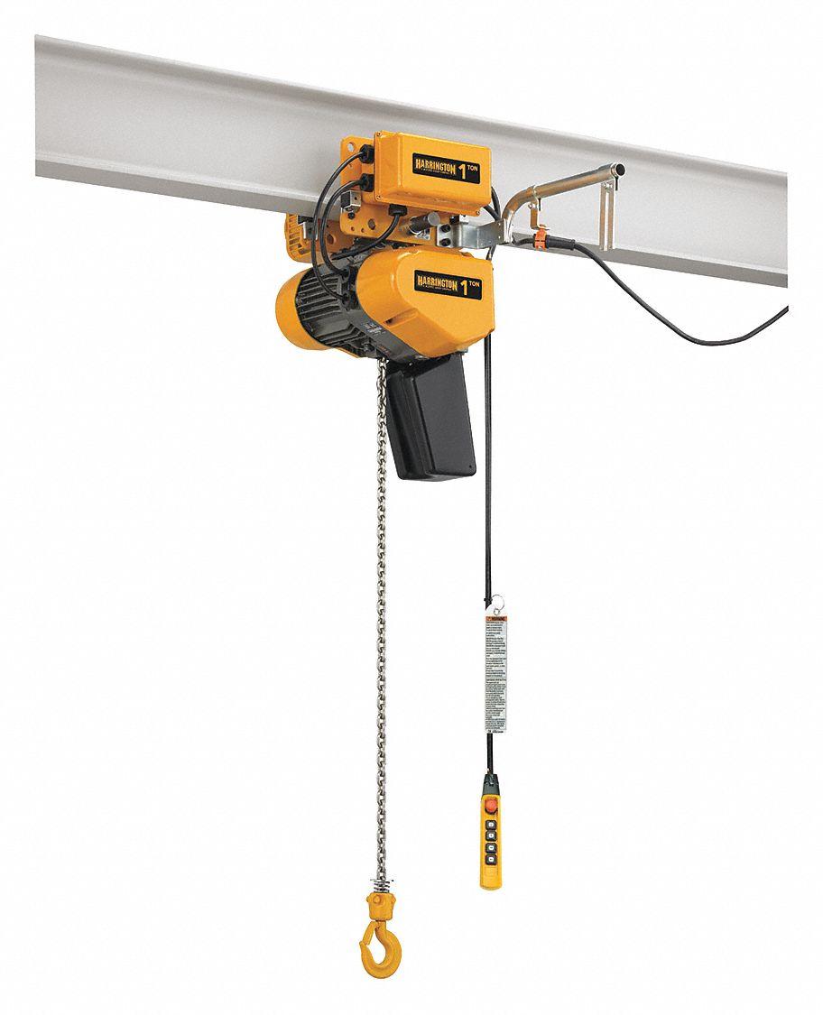 Electric Chain Hoist With Hook: HARRINGTON H4 Electric Chain Hoist, 2000 Lb. Load Capacity