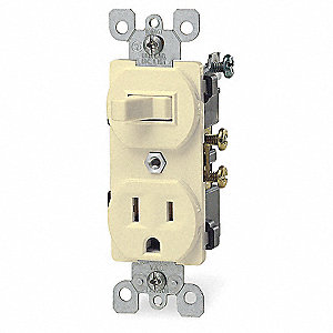 Wall Switch/Receptacle,5-15R,120V