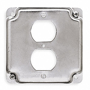 "Galvanized Zinc Electrical Box Cover, Box Type: Square, Number of Gangs: 1, 4"" Width, 4"" Length"