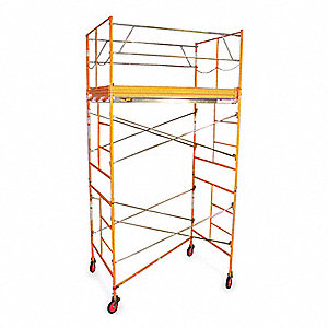 Scaffold Tower, Steel, 2 to 11 ft. Platform Height, 10 ft. Overall Height, 2000 lb. Load Capacity