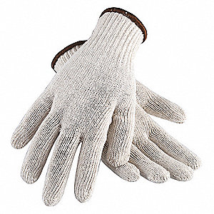 Natural Reversible Standard Weight Knit Gloves, Polyester/Cotton, Size L, 7 Gauge