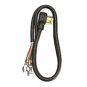 Dryer Power Cord, 250 Voltage, Gauge/Conductor: 10/4, 6 ft. Cord Length