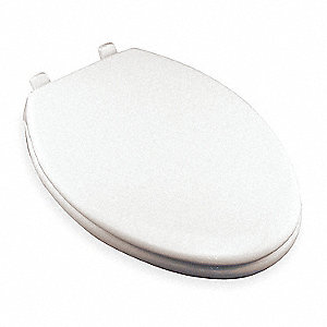 "Hospitality Heavy Duty Plastic Toilet Seat, Elongated, With Cover, 18-13/16"" Bolt to Seat Front"