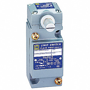 Heavy Duty Limit Switch, 600VAC/DC Voltage Rating, 10 Amps, Side Actuator Location