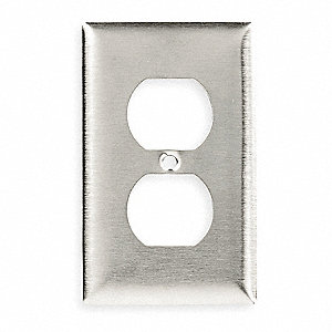 Duplex Receptacle Wall Plate, Silver, Number of Gangs: 1, Weather Resistant: No