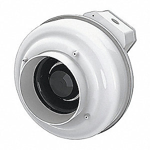 "Thermoplastic Inline Centrifugal Duct Fan, Fits Duct Dia. 6"", Voltage 120V"