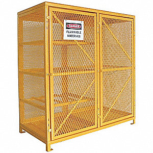 "Yellow Gas Cylinder Cabinet, 60"" Overall Width, 30"" Overall Depth, 65"" Overall Height, 8 Horizontal"