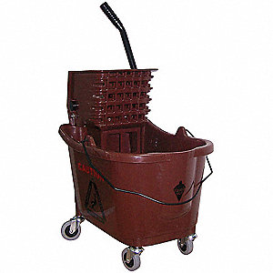 Brown Plastic Mop Bucket and Wringer, 8.75 gal.