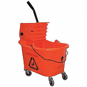 Orange Plastic Mop Bucket and Wringer, 8.75 gal.