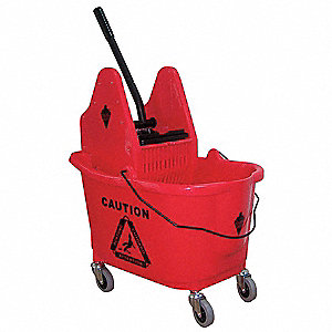 Red Plastic Mop Bucket and Wringer, 8.75 gal.