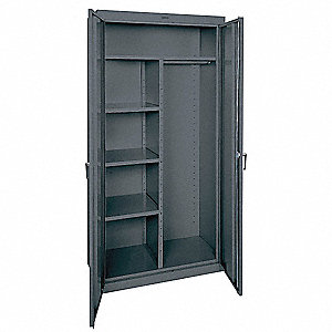 "Combination Storage Cabinet, Charcoal, 78"" Overall Height, Assembled"