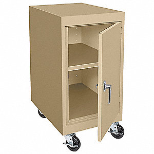 "Sand Mobile Storage Cabinet, 36"" Overall Height, 18"" Overall Width, Number of Shelves 1"