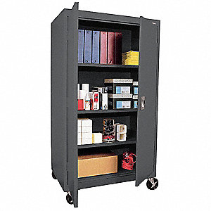 "Charcoal Mobile Storage Cabinet, 66"" Overall Height, 36"" Overall Width, Number of Shelves 3"