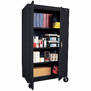 "Mobile Storage Cabinet, Black, 66"" Overall Height, Assembled"
