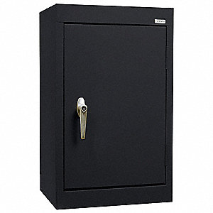"Black Wall Mount Storage Cabinet, 26"" Overall Height, 18"" Overall Width, Number of Shelves 1"