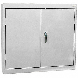 "Dove Gray Wall Mount Storage Cabinet, 30"" Overall Height, 30"" Overall Width, Number of Shelves 2"