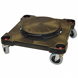 Sqr Drum Dolly,300 lb.,6 In. H,Black