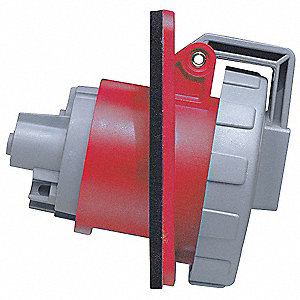 Red Watertight Pin and Sleeve Receptacle, 30 Amps, 3 Phase, Number of Poles: 3, Number of Wires: 4