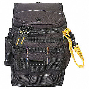 Black Zip Top Utility Pouch, Polyester, Fits Belts Up To (In.): 2-3/4