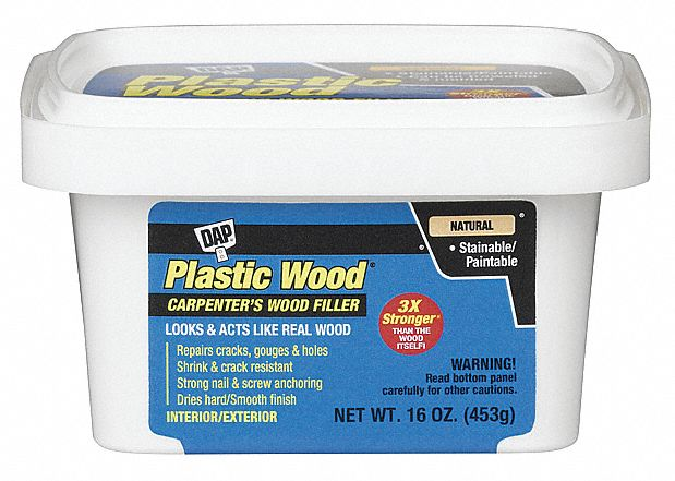 Dap exterior latex wood filler 1 pt size natural color container type pail 5e115 00529 for Exterior wood filler paintable