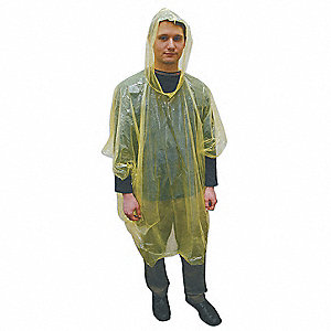 Disposable Poncho,Polyethylene,Yellow