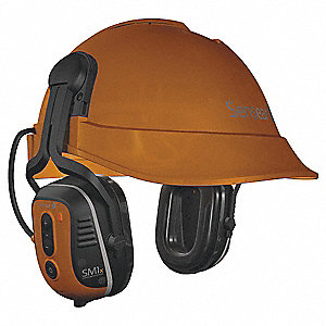 Orange Cap-Mounted Ear Muff, Noise Reduction Rating NRR: 23dB, Dielectric: No