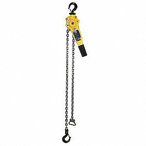"Lever Chain Hoist, 1500 lb. Load Capacity, 15 ft. Lift, 1-3/16"" Hook Opening"
