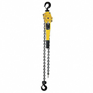 "Lever Chain Hoist, 3000 lb. Load Capacity, 5 ft. Lift, 1-3/8"" Hook Opening"