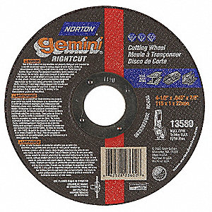 "4-1/2"" Abrasive Cut-Off Wheel, 0.045"" Thickness, 7/8"" Arbor Hole"