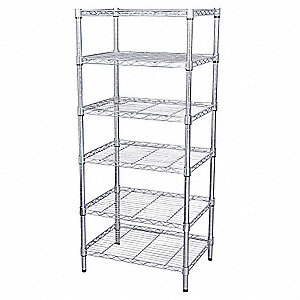 "Zinc Plated Wire Shelving Unit Starter, 63"" Height, 60"" Width, Number of Shelves 4"