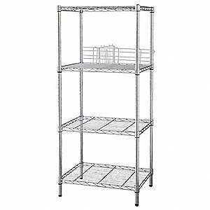 "Chrome Plated Wire Shelving Unit Starter, 63"" Height, 60"" Width, Number of Shelves 4"