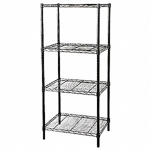"Powder Coat Wire Shelving Unit Starter, 63"" Height, 60"" Width, Number of Shelves 4"
